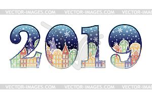 Happy New 2019 year banner, vector illustration.