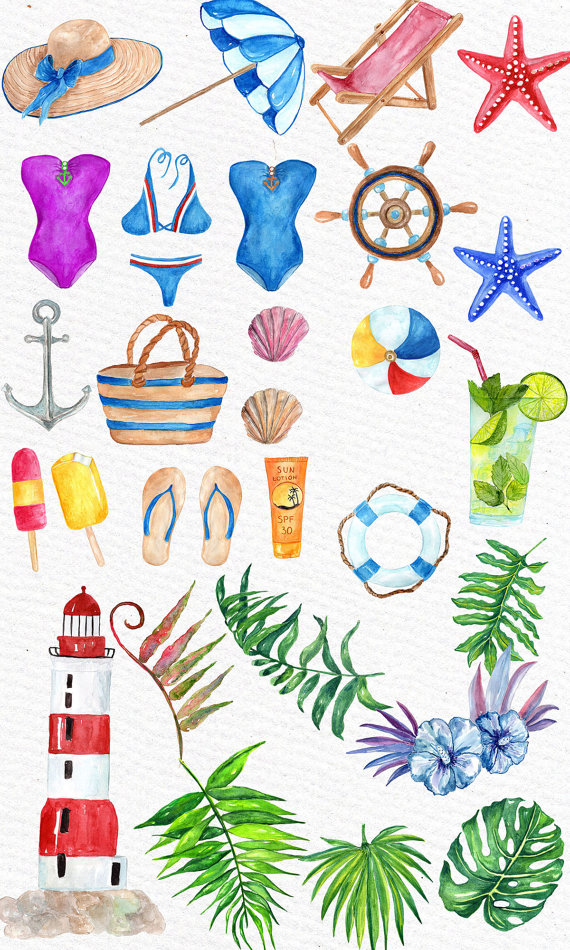 Watercolor summer clipart: \