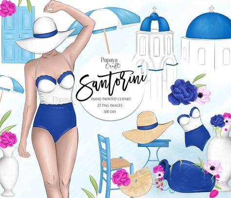Santorini, Vacation Clipart, Beach Clipart, Summer Fashion.