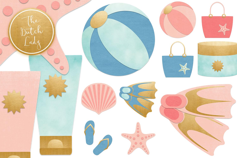 Summer Beach Vacation Clipart Set.