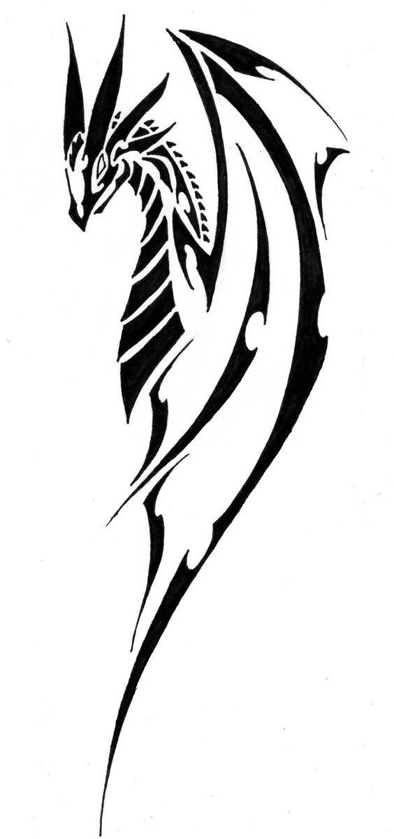 dragon #tribal #tattoo #fantasy #myth #black and white. in.