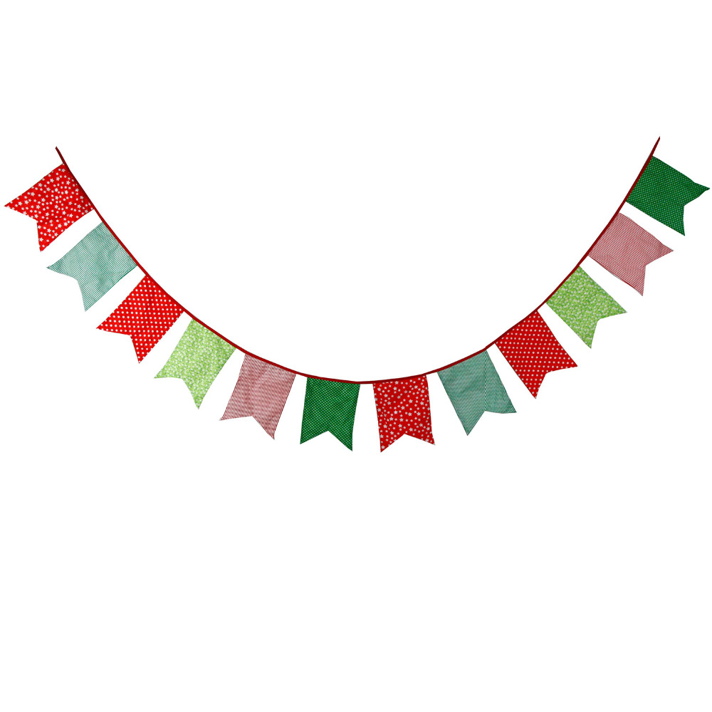 2019 Christmas Bigger Size 12 Flags Fabric Banners Bunting.