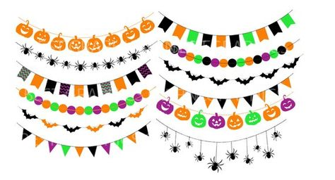 Banner clipart Halloween bunting banners clip art, Halloween.