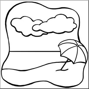 Clip Art: Beach B&W I abcteach.com.