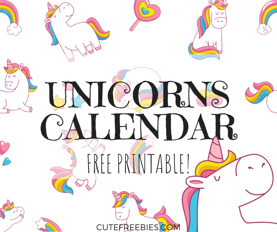 Cute Unicorn 2020 Calendar.