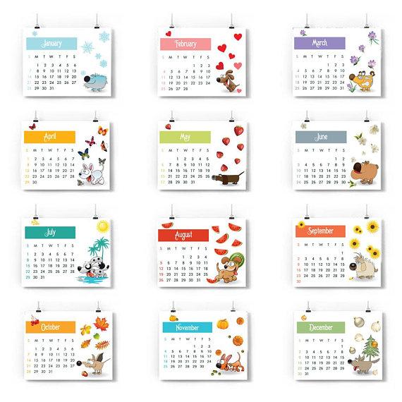 2018 Year of the Dog Calendar, 12 months 2018 calendar.