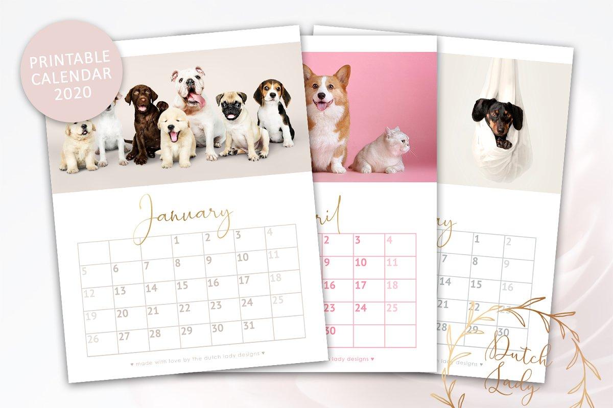 Printable Monthly Calendar 2020 Dogs ~ Templates ~ Creative.