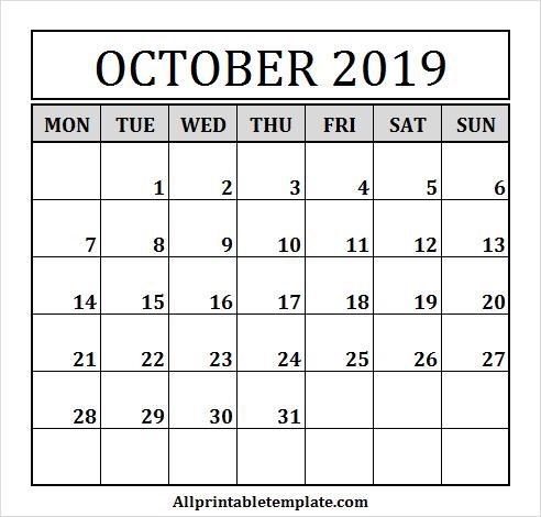 October 2019 Calendar Clipart.