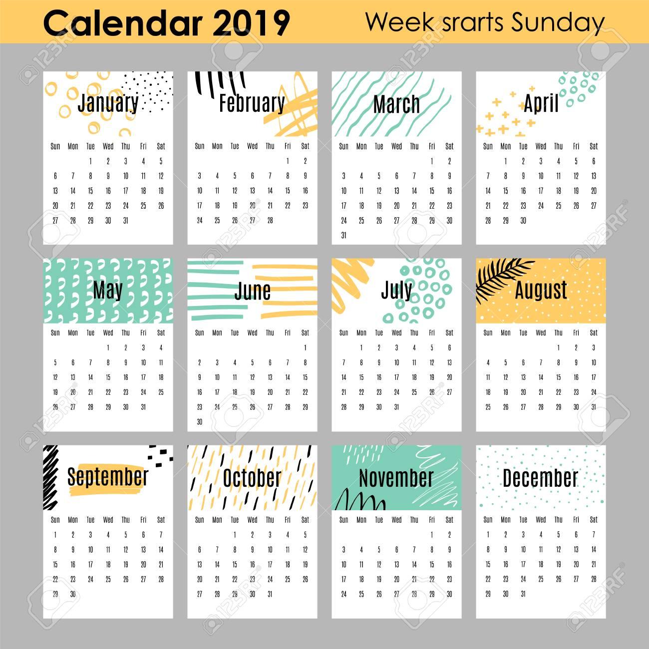 Modern creative calendar 2019. 12 design templates with hand...