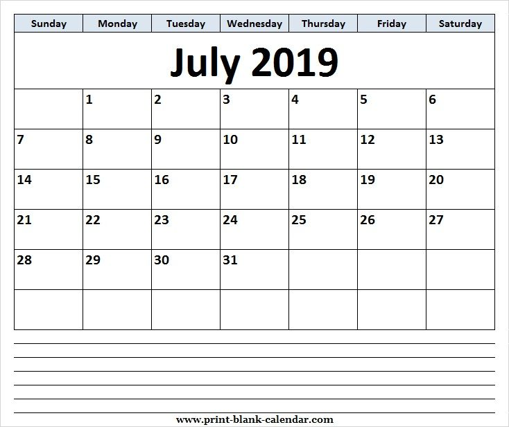 Cute July 2019 Calendar Clipart Page.