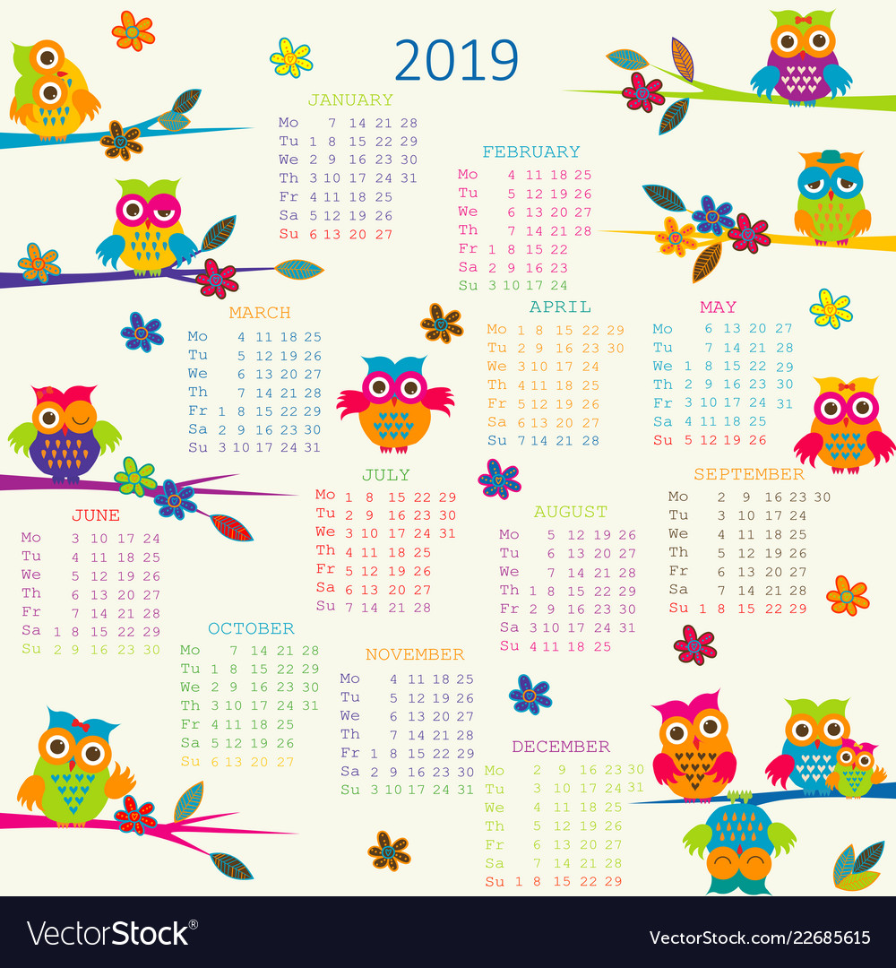 2019 calendar with cartoon owls.