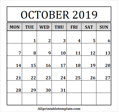 October 2019 Calendar Clipart.