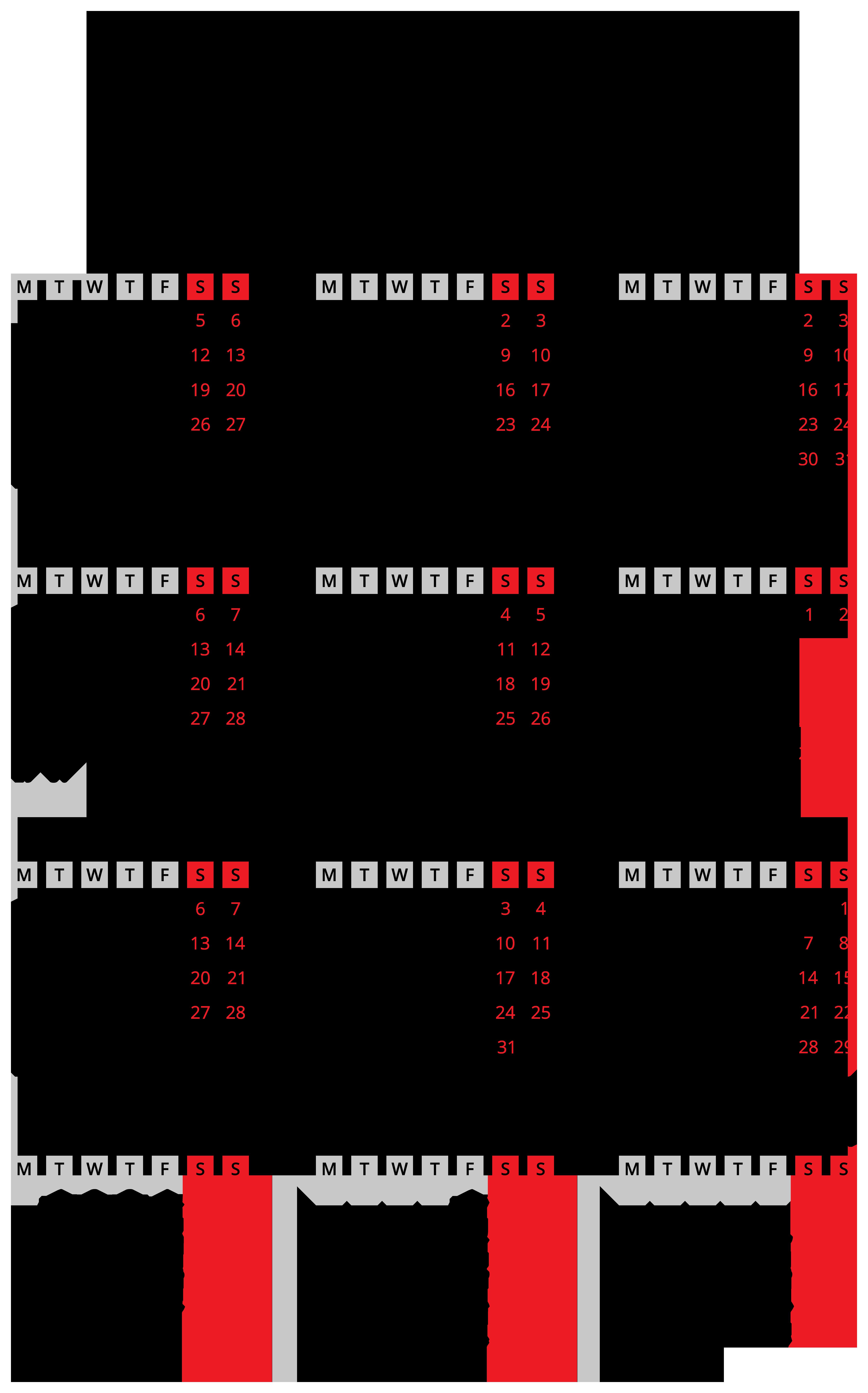 2019 Calendar Black Transparent PNG Image.