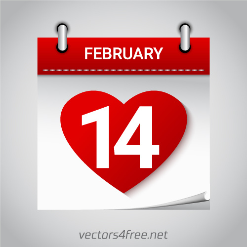 Valentines day february 14 heart calendar icon vector Free.