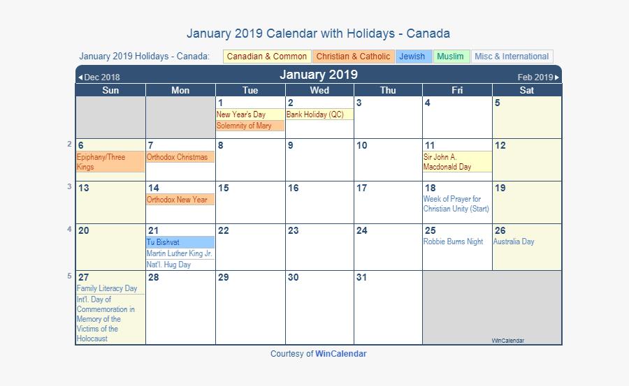January 2019 Calendar With Holidays Canada.