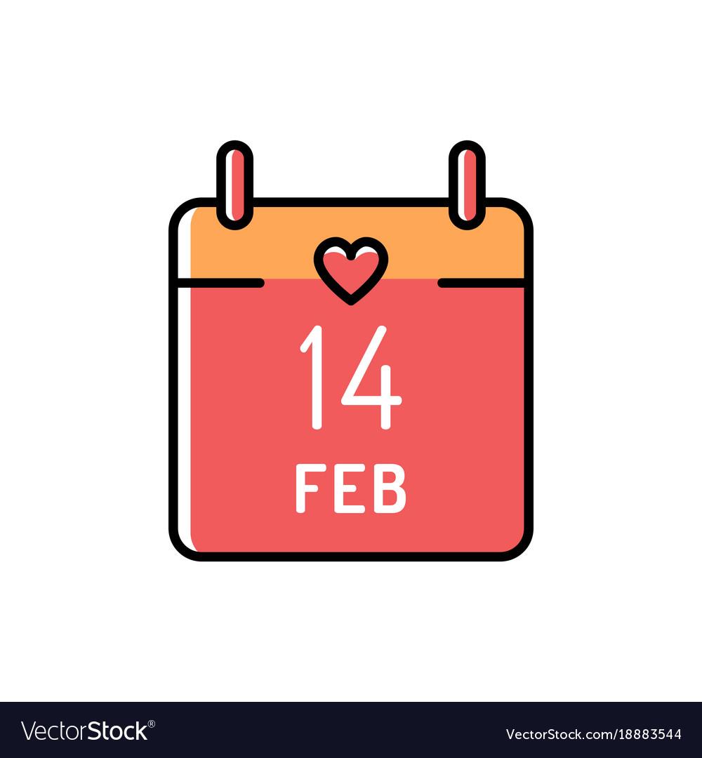 Calendar icon 14 february valentines day love.