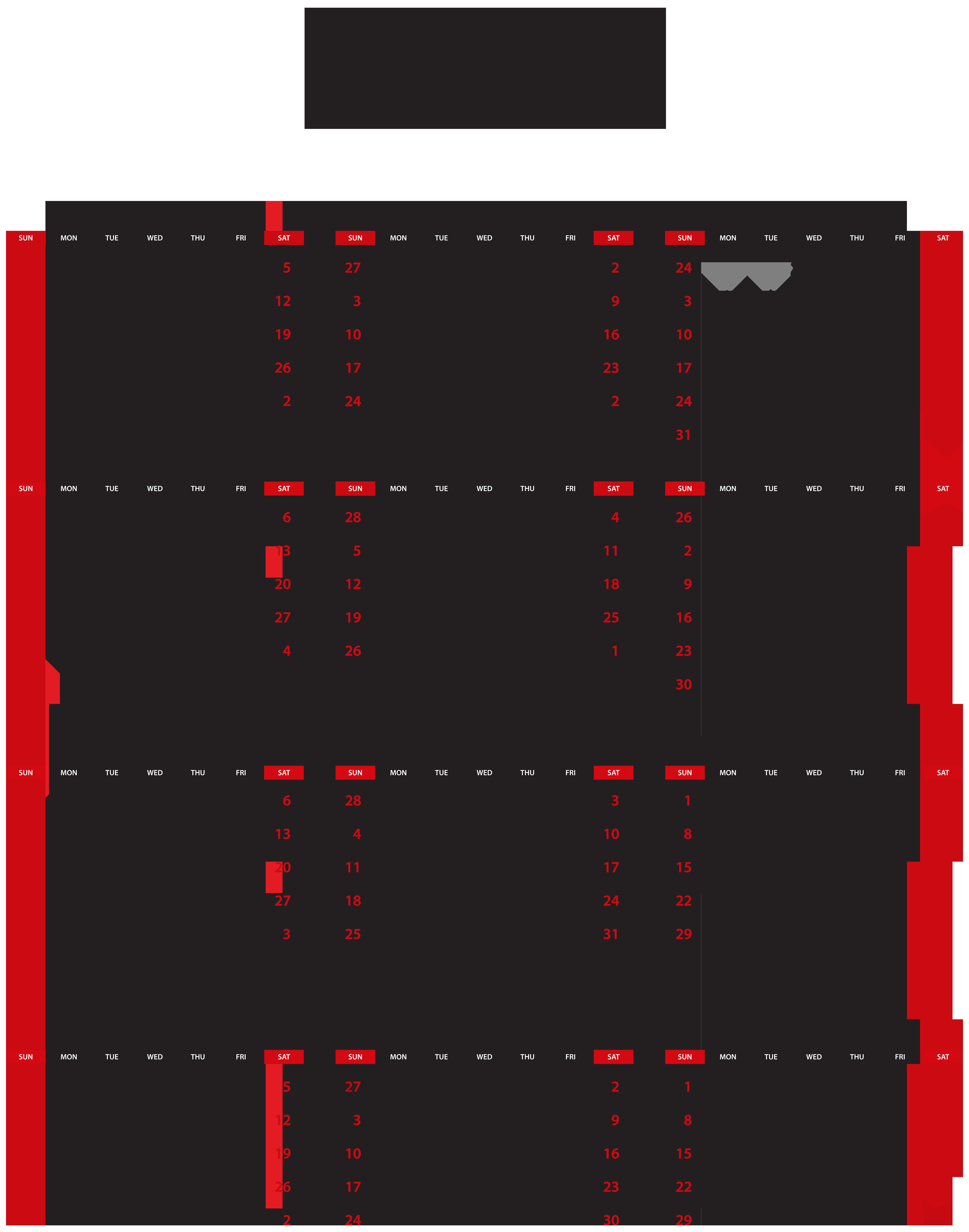 2019 Calendar Transparent PNG Clip Art.