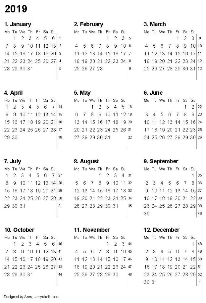 2019 Calendar PNG Transparent Images.