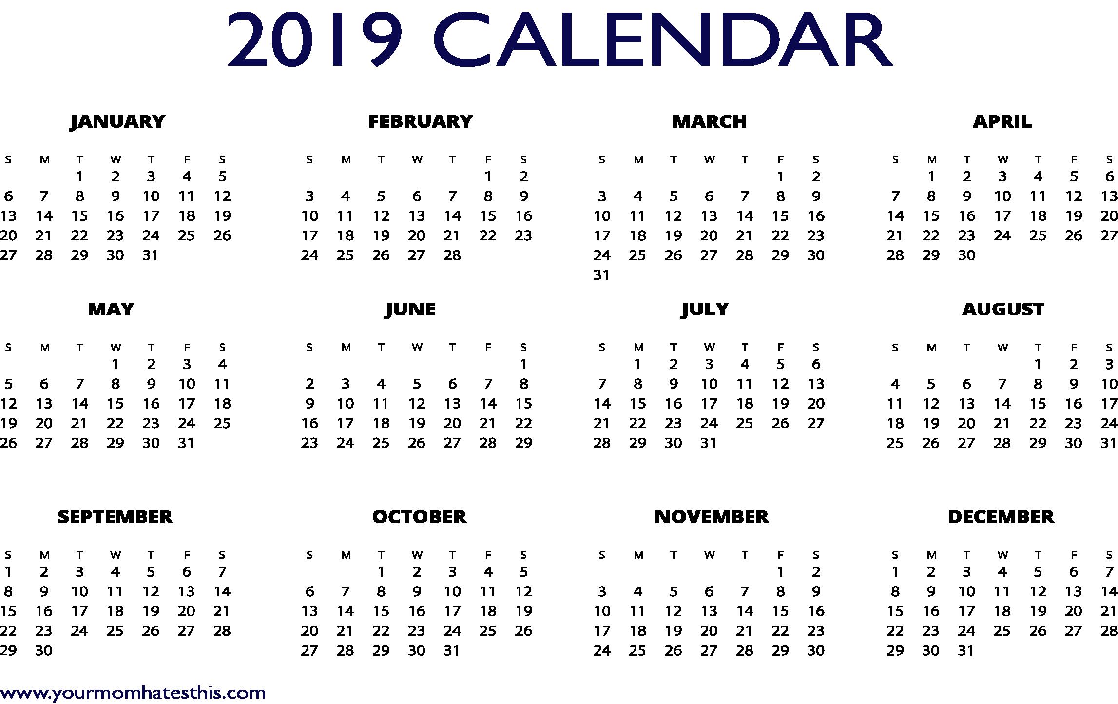 2019 Calendars Download PDF Templates.