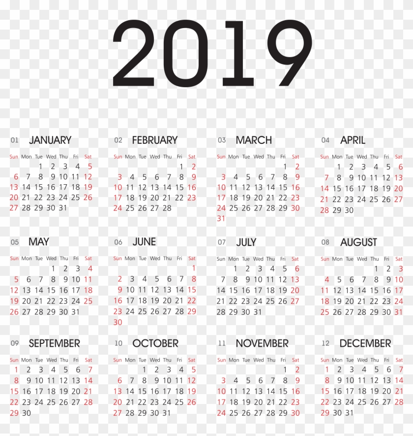 2019 Calendar Png Transparent Image, Png Download.