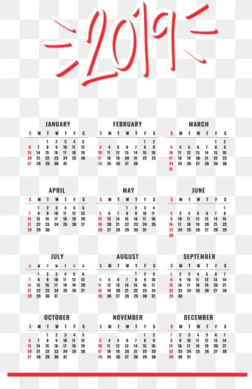2019 Calendar Png, Vector, PSD, and Clipart With Transparent.