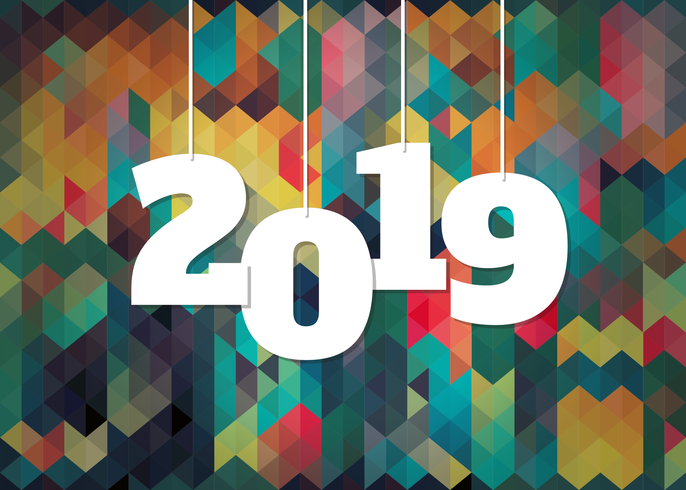 Colorful Background For 2019 New Year Celebration.