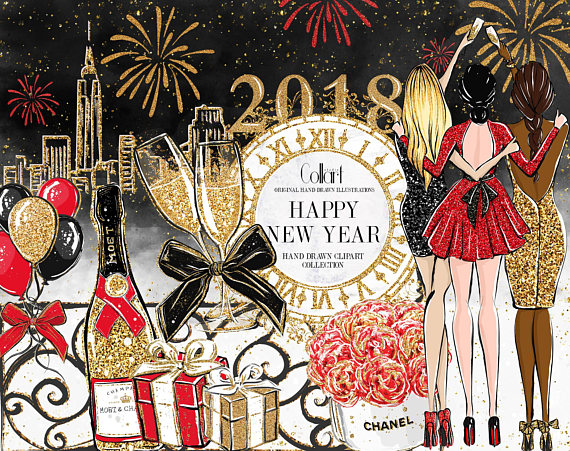 New Year Clip Art Fashion Illustration, Party clipart.