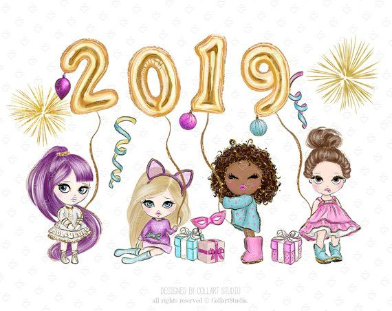 New Year Clip Art cute dolls, Party clipart, Celebration.