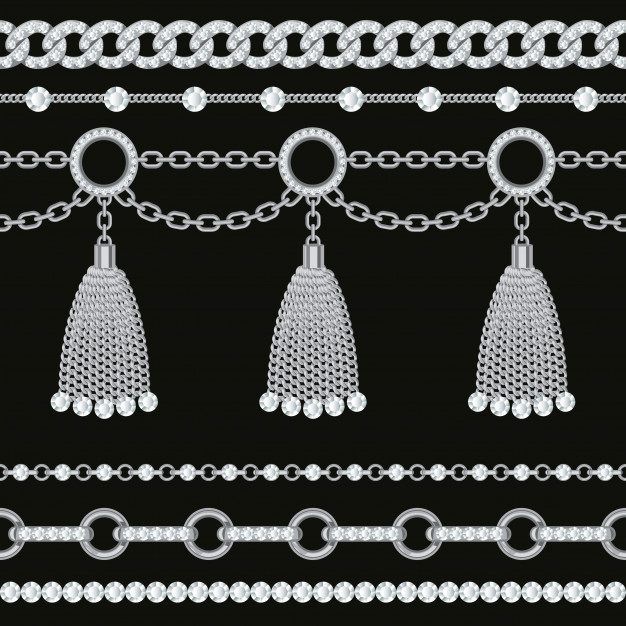 Set collection of silver metallic chain borders with.