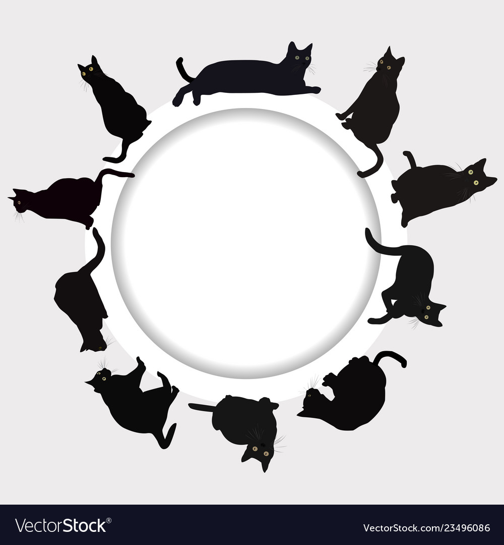 Circular frame with black cats.