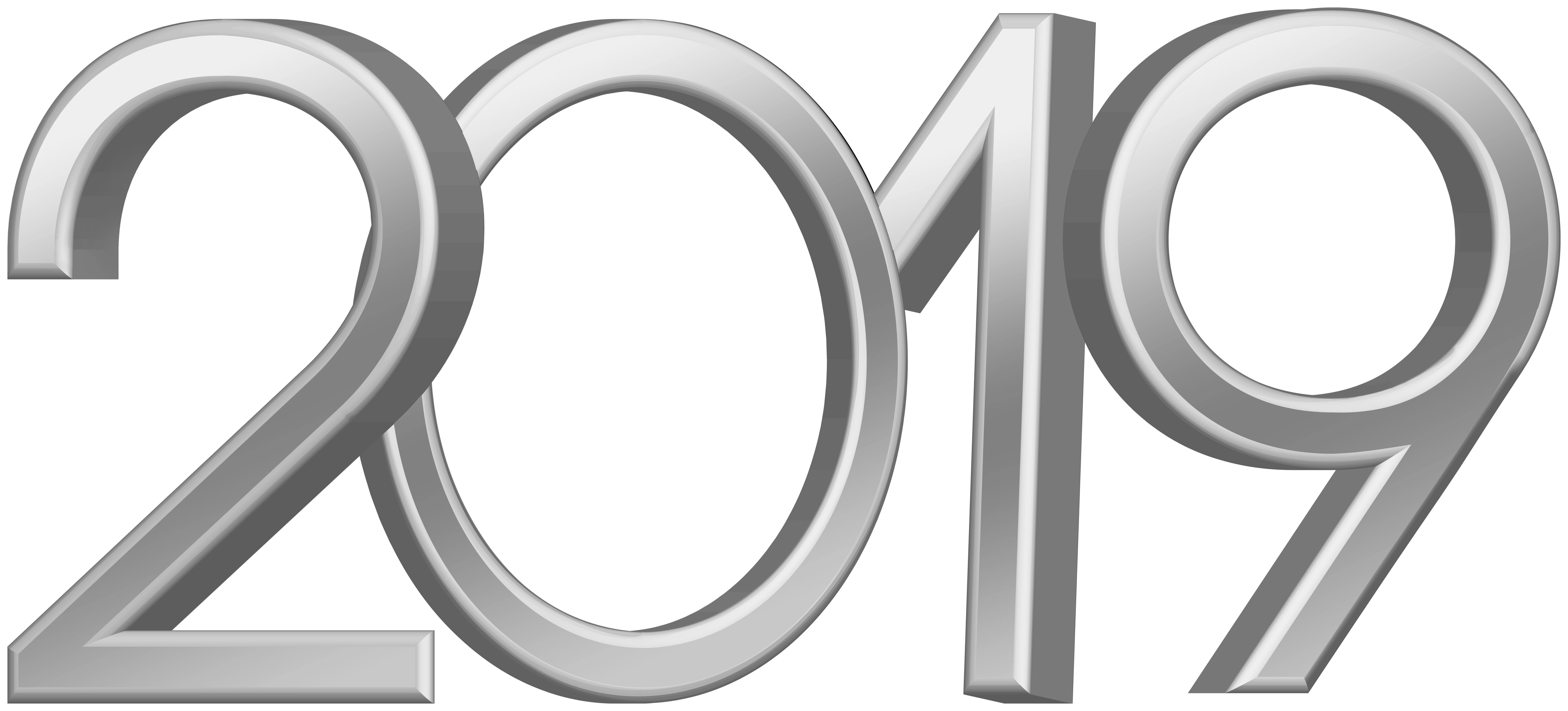 2019 Silver PNG Clip Art Image.