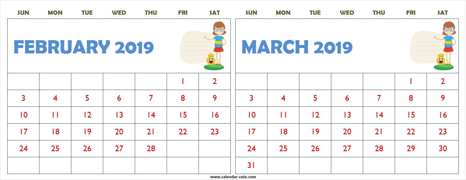 February March 2019 Calendar Clipart Printable.
