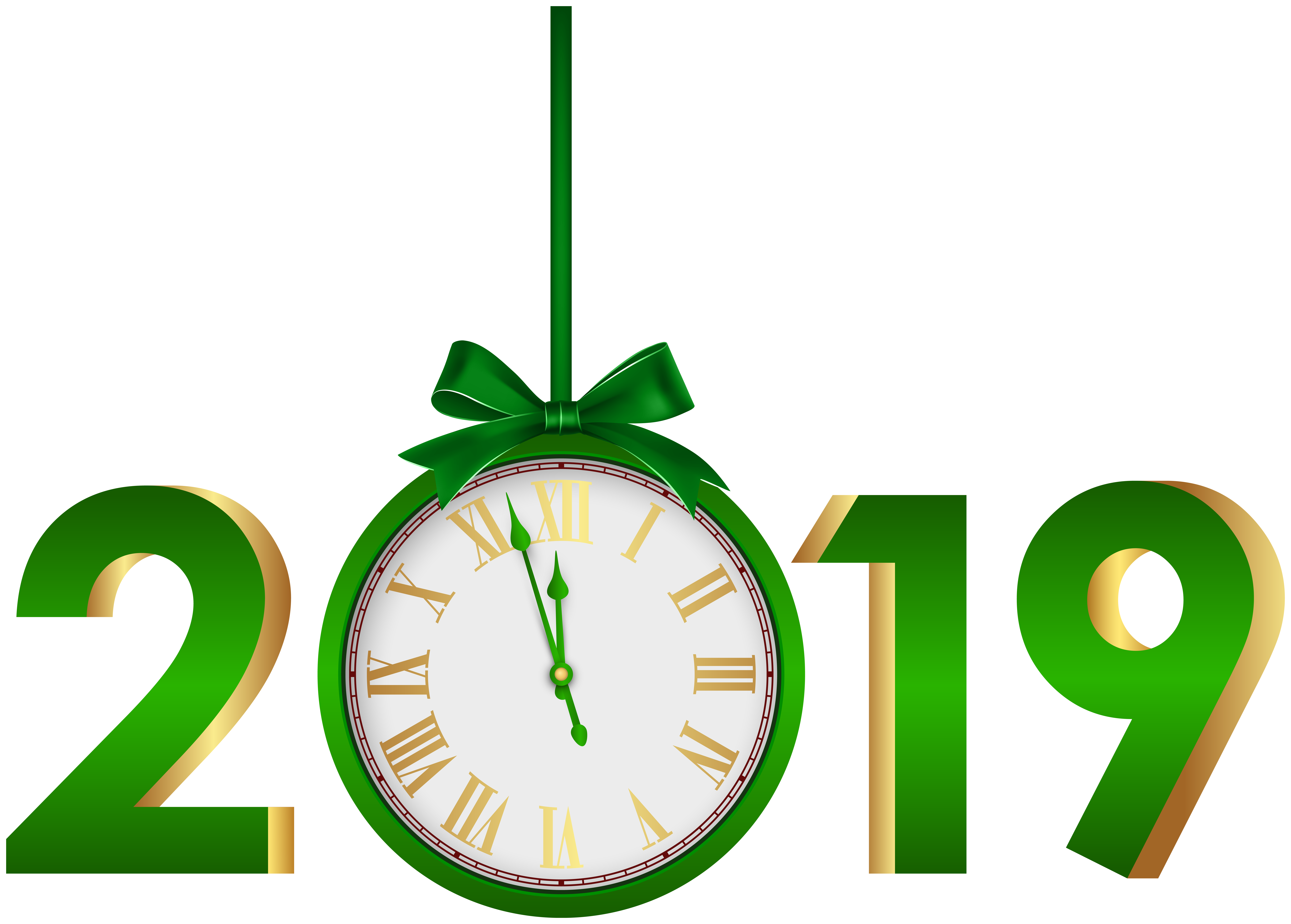 2019 with Clock Green PNG Clip Art Image.