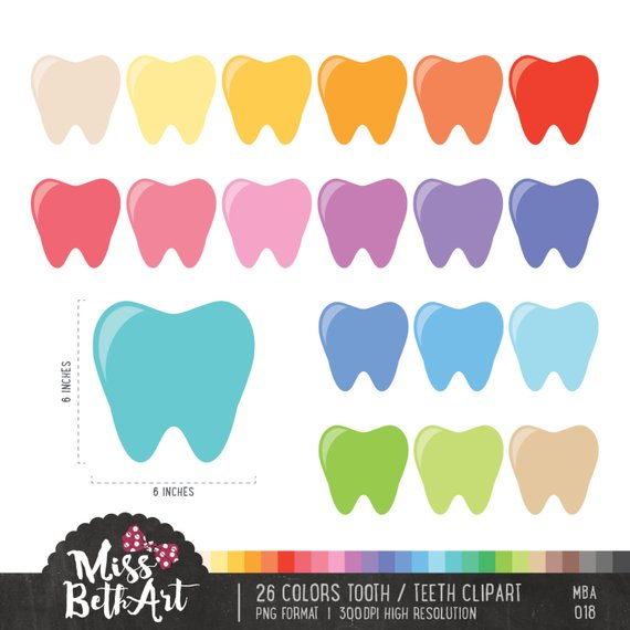 26 Colors Tooth Clipart. Teeth Clipart.