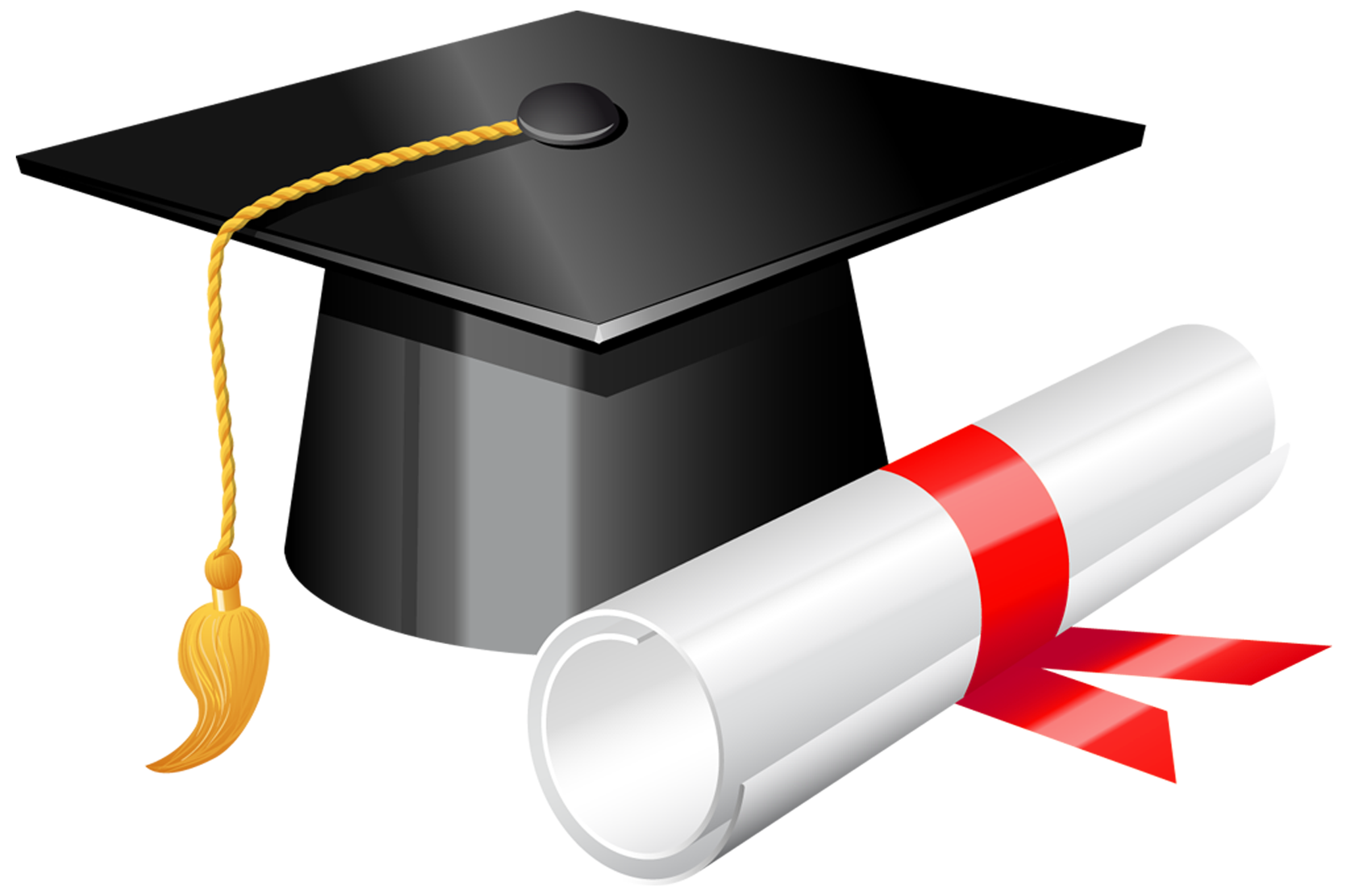 Graduation Cap with Diploma PNG Clipart.
