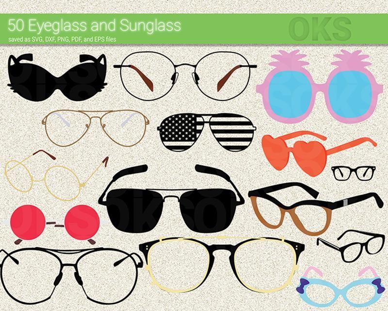 Eyeglasses, sunglasses svg, dxf, vector, eps, clipart.