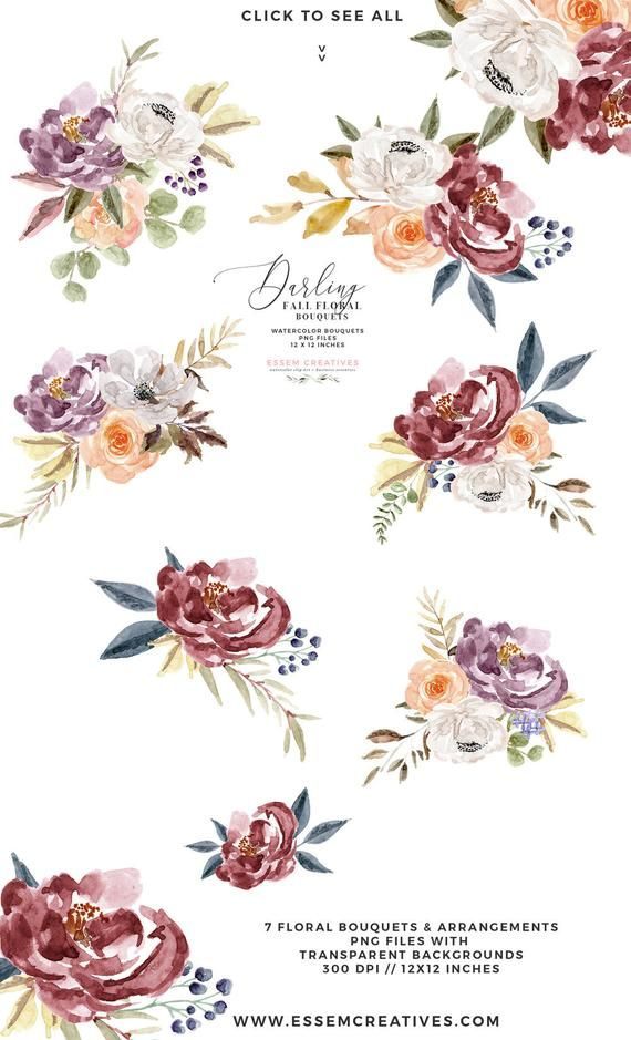 Burgundy & Navy Watercolor Floral Clipart, Boho Floral.