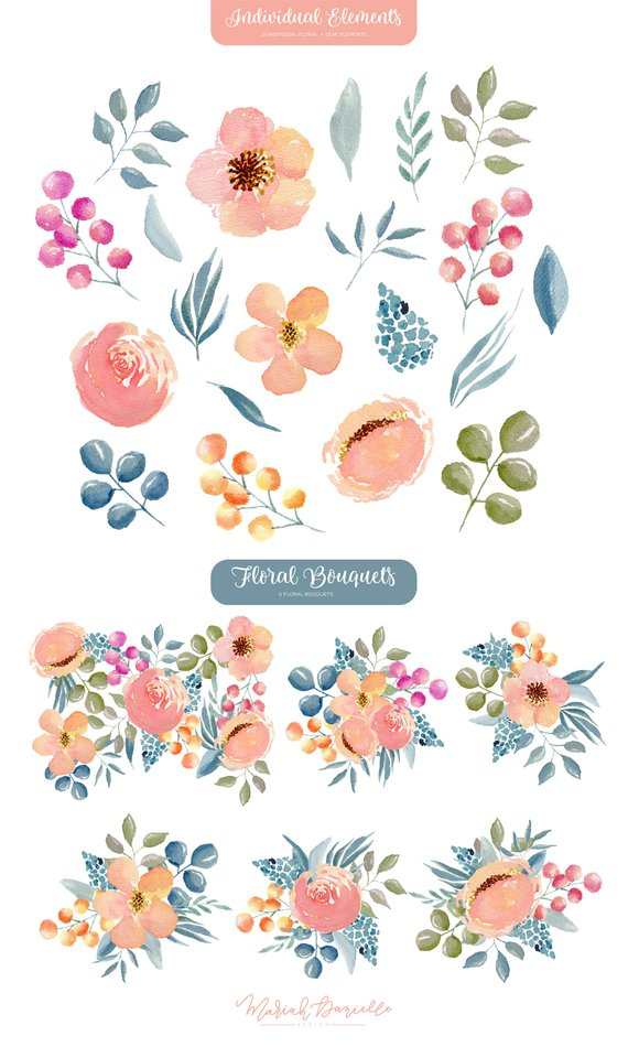 Watercolor Floral Clipart Set, Flower Bouquets, Pink & Navy.