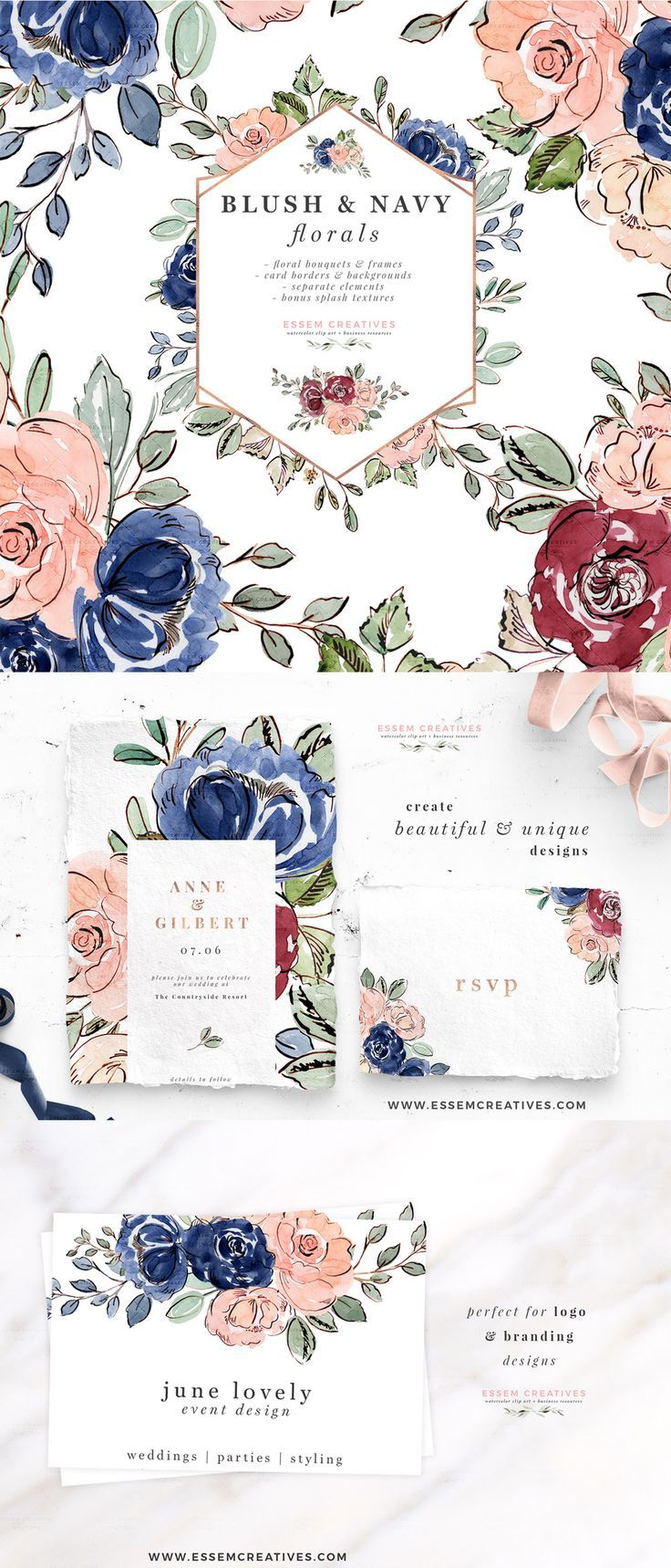 Blush and Navy Blue Watercolor Flowers Clipart, Wedding.
