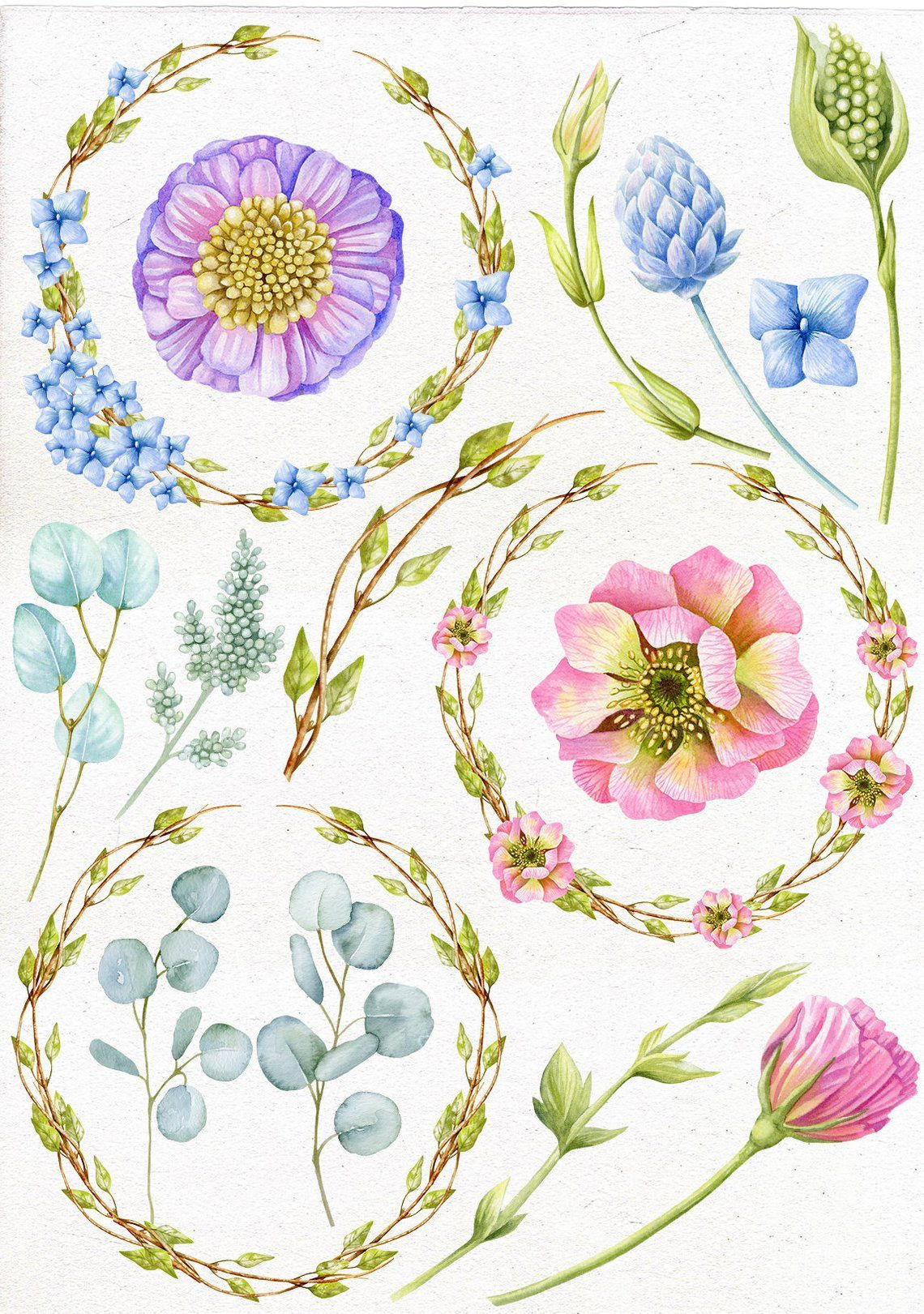 Watercolor floral clipart. Wedding Pink, Purple, Blue.