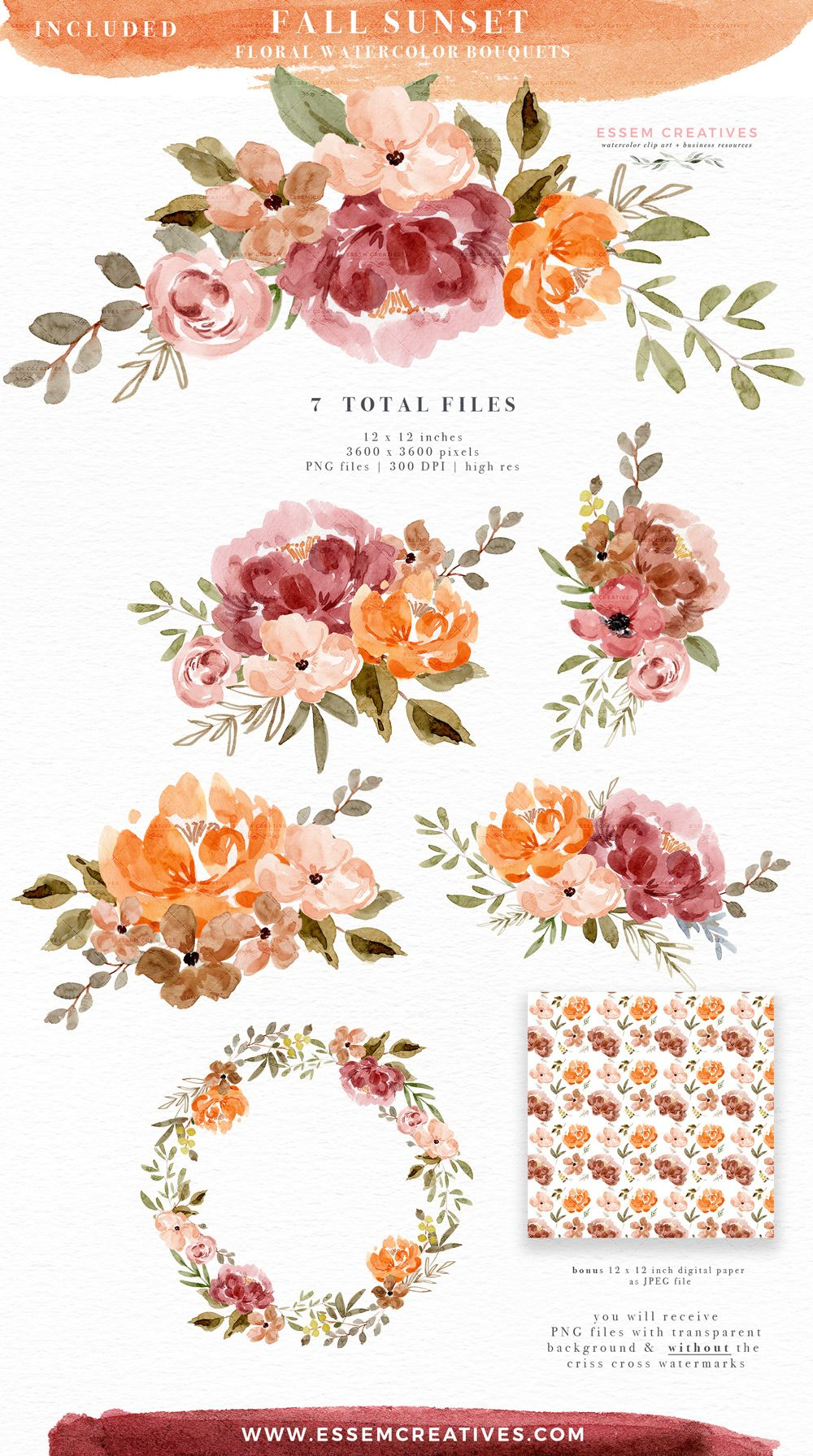 Watercolor Fall Floral Clipart, Orange Rust Thanksgiving.