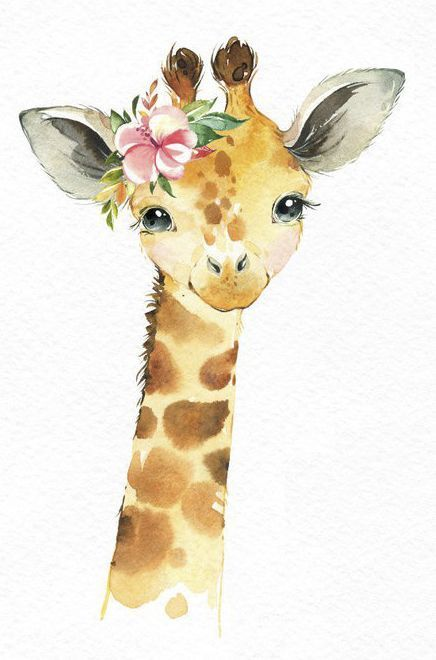 Africa Giraffe Monkey Rhino Watercolor little animals.