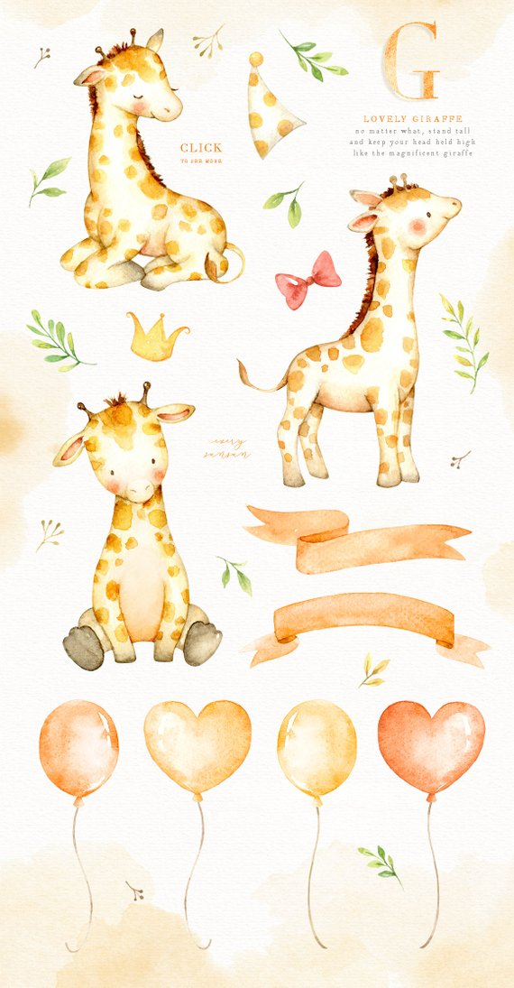 Lovely Giraffe Watercolor Clip Art, Giraffe Clipart.