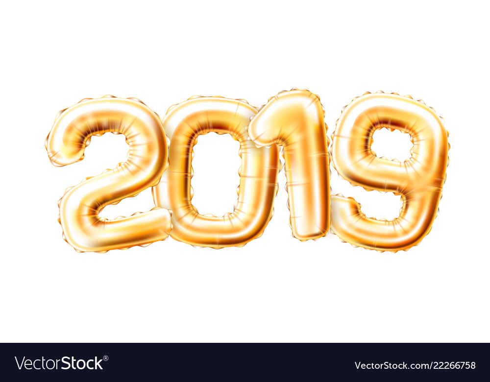 Realistic 2019 golden air balloons new year.
