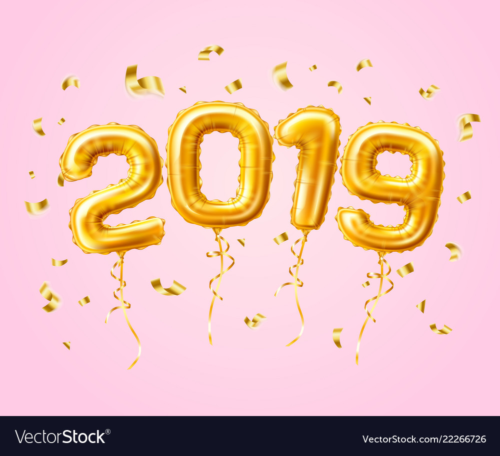 Realistic 2019 gold air balloons confetti new year.