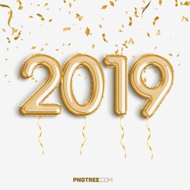 2019 Golden Balloon New Year Celebrate, Newyear, Happy.
