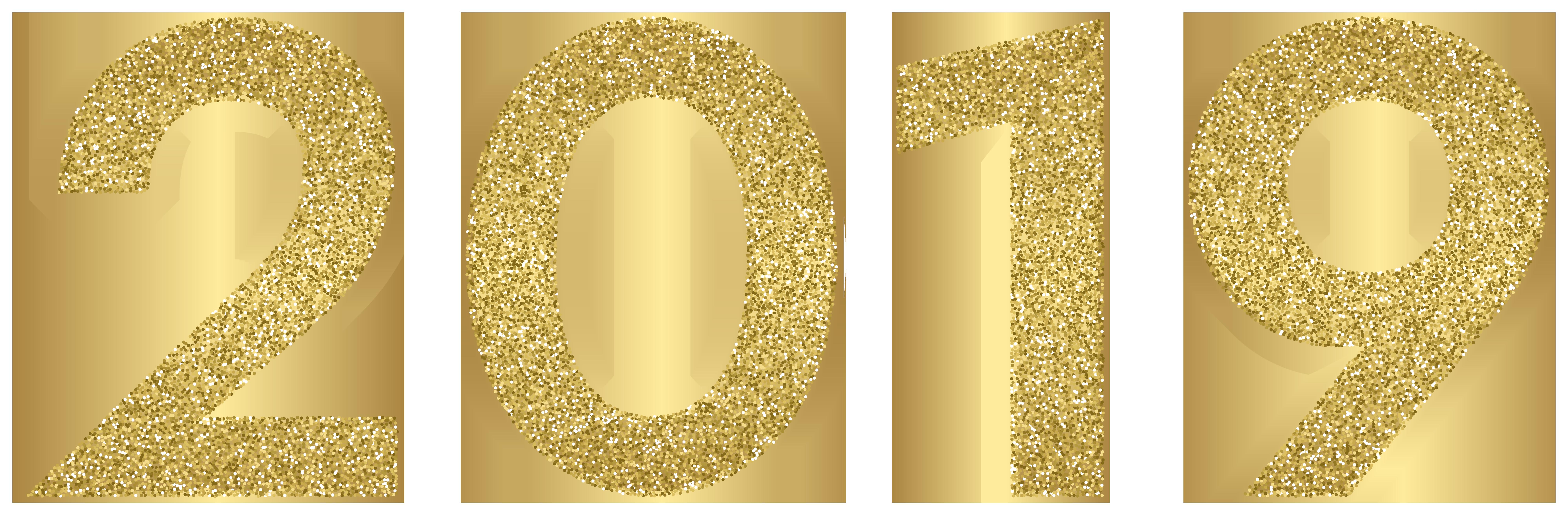 2019 Gold Large Clip Art Image.