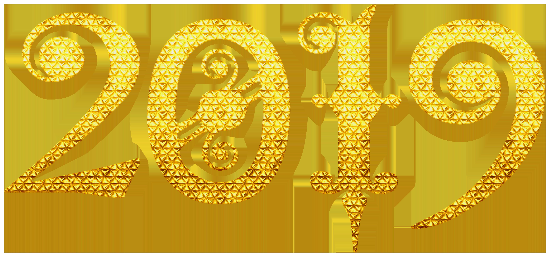 2019 Gold Deco PNG Clip Art Image.
