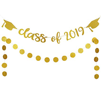 2019 Graduation Party Decorations,Gold Glittery Class of 2019 Banners and  Gold Glittery Circle Dots Garland.
