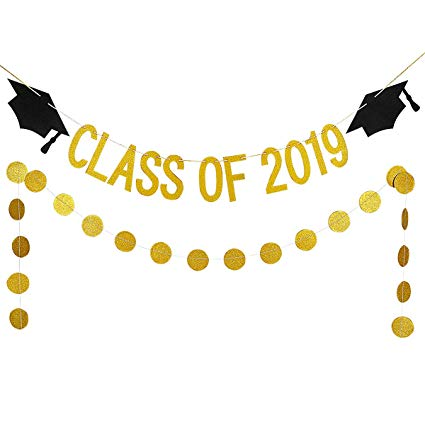 2019 Graduation Party Decorations,Gold Glittery Class Of 2019 Graduation  Banner and Gold Glittery Circle Dots Garland.